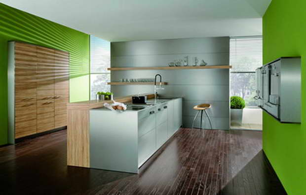 modern kitchen with island,wooden kitchen cabinets,green walls in the kitchen,contemporary kitchen design ideas,tall kitchen wall cabinets,