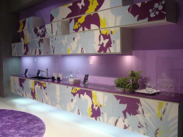 floral design kitchen cabinets,purple yellow white designs,light purple kitchen walls,kitchen design ideas,colorful modern interior design,
