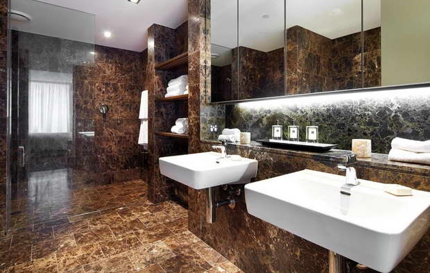 brown bathroom ideas,brown tile bathroom design,best high end bathroom brands,double wash basins bathrooms,modern mirrors for bathroom,