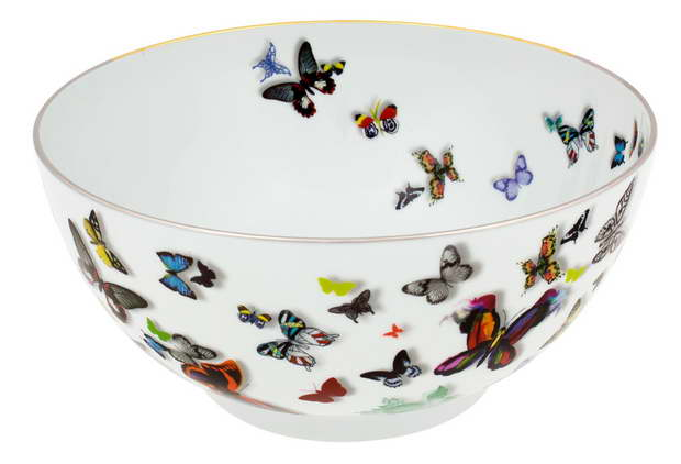 Christian Lacroix tableware,designer salad bowl,butterfly pattern salad bowl,butterflies in dining room bowl salad,designer tableware brands,