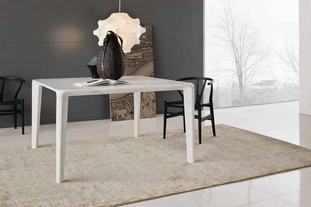 Luca Martorano design,white dining room table designs,dining table made of stone,dining room decor in neutral colors,furniture design in white colour,